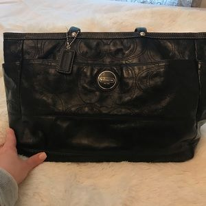 Coach baby bag — blk patent w/ baby blue interior
